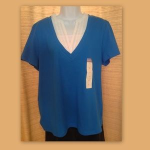 LAURA SCOTT Royal Blue V-Neck Layered Look TOP